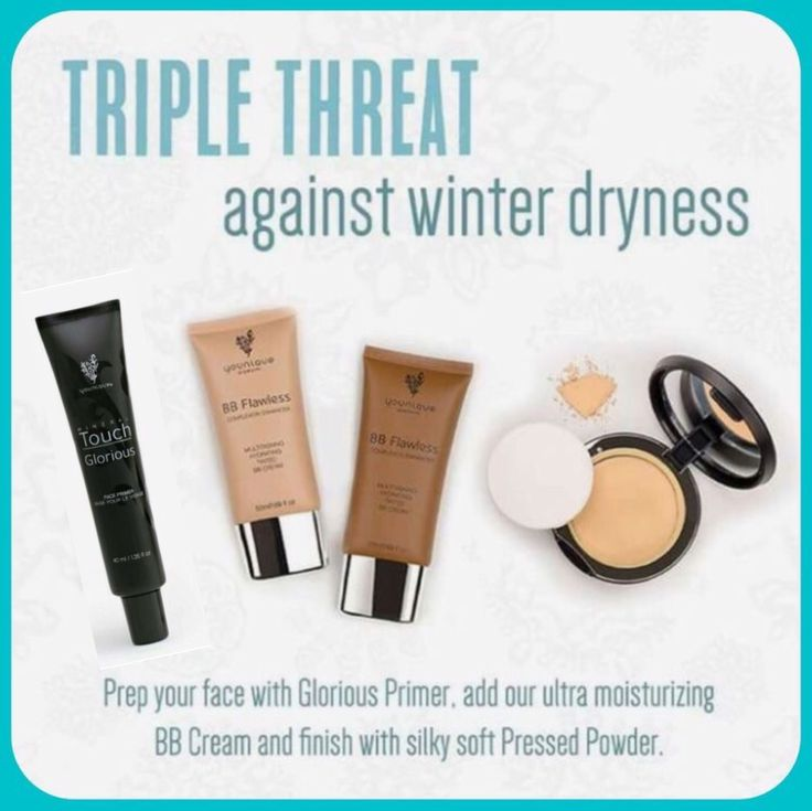The Triple Threat! To protect your skin from winter dryness use Glorious Face Primer, BB Cream & Touch Mineral Powder Foundation!  #Younique #ClickImageToShop #Questions #EmailMe sarahandbrianyounique@gmail.com or comment below
