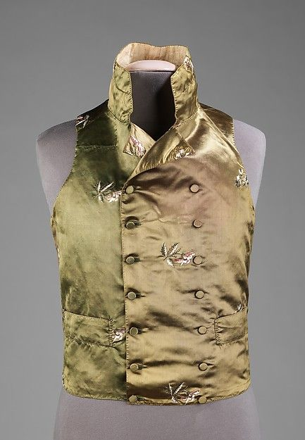 Waistcoat, 1800-1810, probably British, Made of silk, linen, and metal