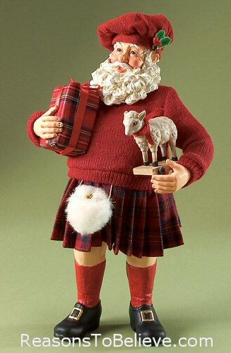 Highland Holiday - Clothtique Collectible Santa figurine by Possible Dreams. A very dapper Scottish, Celtic, Santa dressed mostly in red with a kilt, a plaid-wrapped present, balmoral hat and even a white sporran(Scottish Gaelic for purse).