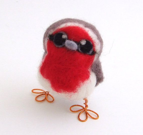 Needle Felted Bird Red Breasted Robin Baby by feltmeupdesigns, £15.00