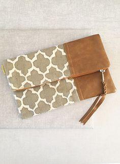 Grey Tile Foldover Clutch