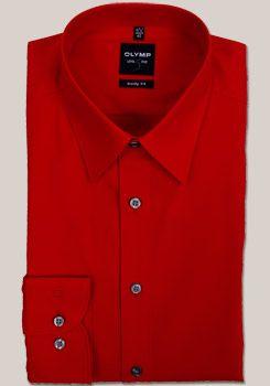 OLYMP Level 5 Hemd Langarm mit Long Kent Kragen in Uni mittelrot