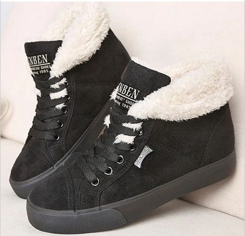 Department Name: Adult Platform Height: 0-3cm Closure Type: Lace-Up Boot Height: Ankle Toe Shape: Round Toe Insole Material: Rubber Upper Material: Flock Decorations: Charm Heel Height: Flat (0 to 1/2