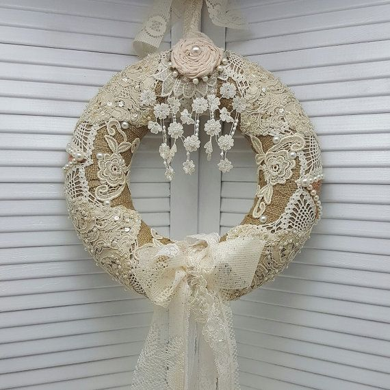Year Round Wreath , Romantic Bedroom Decor , Country Chic Wall Decor , Everyday Wreath , Shabby Chic Decor , French Country Decor , Wreath