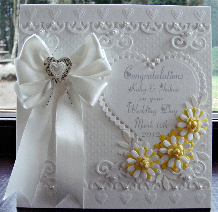 Wedding card -could use a subtle striped paper at the top and bottom of this card