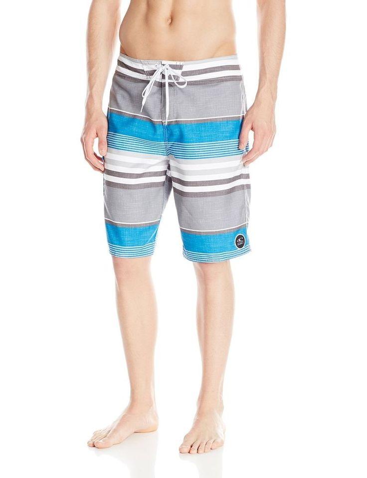 O'Neill Mens Santa Cruz Striped Swim Board Shorts , Blue Gray White , Size 36 #ONeill #BoardShorts