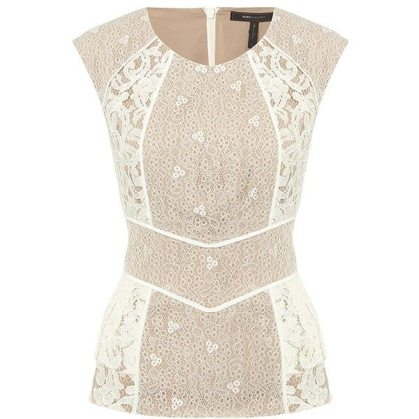 BCBG Kerra Lace Top ($320) ❤ liked on Polyvore