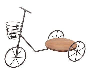 Jardinera de hierro y madera en forma de bicicleta