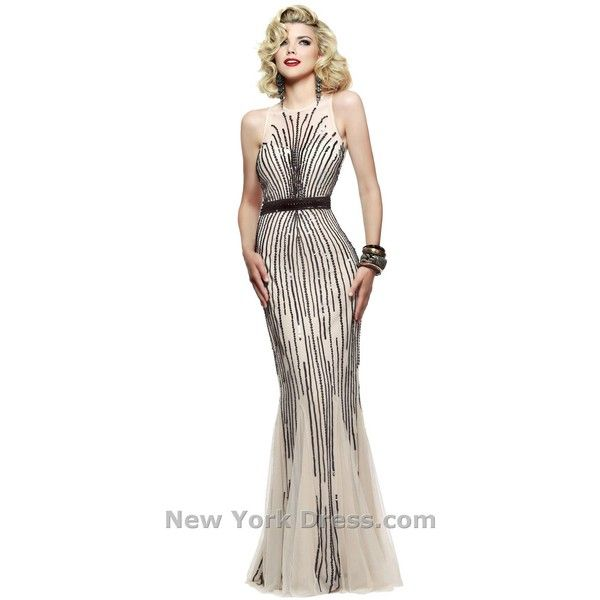 Faviana S7596 Wedding Guest Dress Long High Neckline Sleeveless ($229) ❤ liked on Polyvore featuring dresses, gowns, white evening dresses, sparkly prom dresses, white prom dresses, white prom gown and white evening gowns