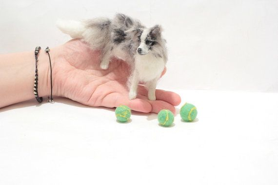 OOAK Miniature Blue Merle Border Collie Dog  by Malga by malga1605