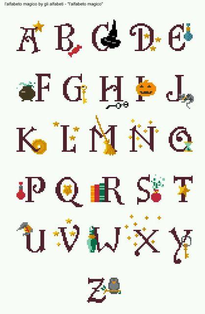 los gráficos del gato: ABC HALLOWEEN  #abecedario #puntodecruz #puntodecruzabc #puntodecruzabecedario #crossstitch #crossstitchabc #patrones #graficos #labores #manualidades #LosGraficosDelGato #PatronesNikki