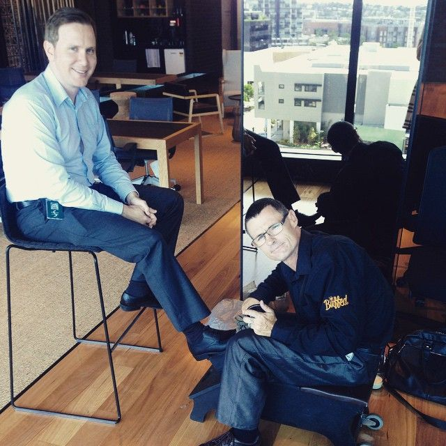 Steve from @buffedoz is in residence at BOQ HQ this week! Here is Andrew, our Sales Analyst enjoying a quick break from work to start his #Monday off on the right foot.