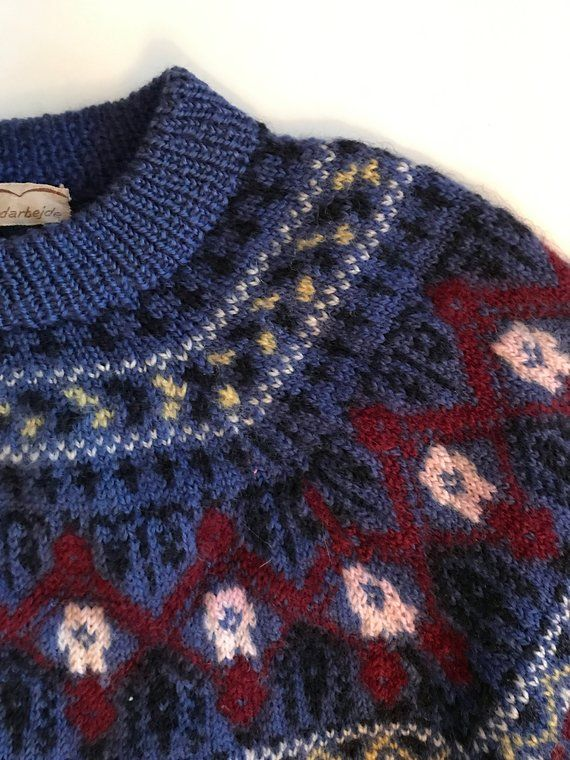 Vintage Scandinavian Sweater Fantastic Hand Knit Wool Vintage Nordic Design Cranberry Red Nordic Blue Creamy White Sweater Knitting Patterns Knitting Hand Knitting