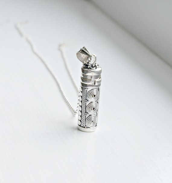 Silver prayer box necklace - sterling silver prayer box pendant - wish box - poison box - tube cylinder - unisex - secret jewelry - fortune2