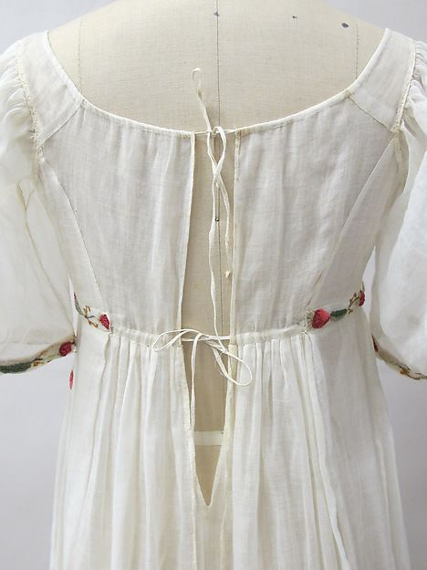Dress Date: ca. 1805 Culture: French Medium: cotton, wool, metal