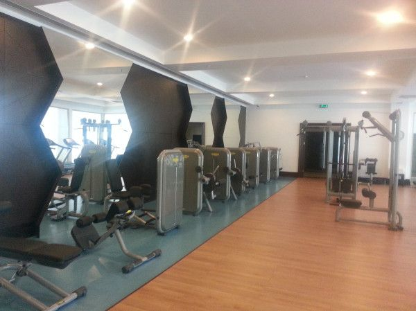 Fitness Center is in the SPA Center, with an adjacent indoor pool and massage rooms.