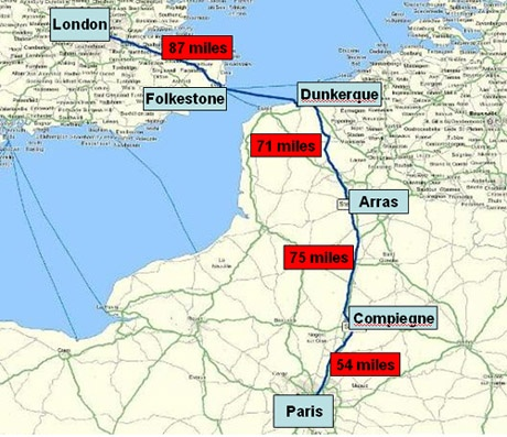 London to Paris - The Route