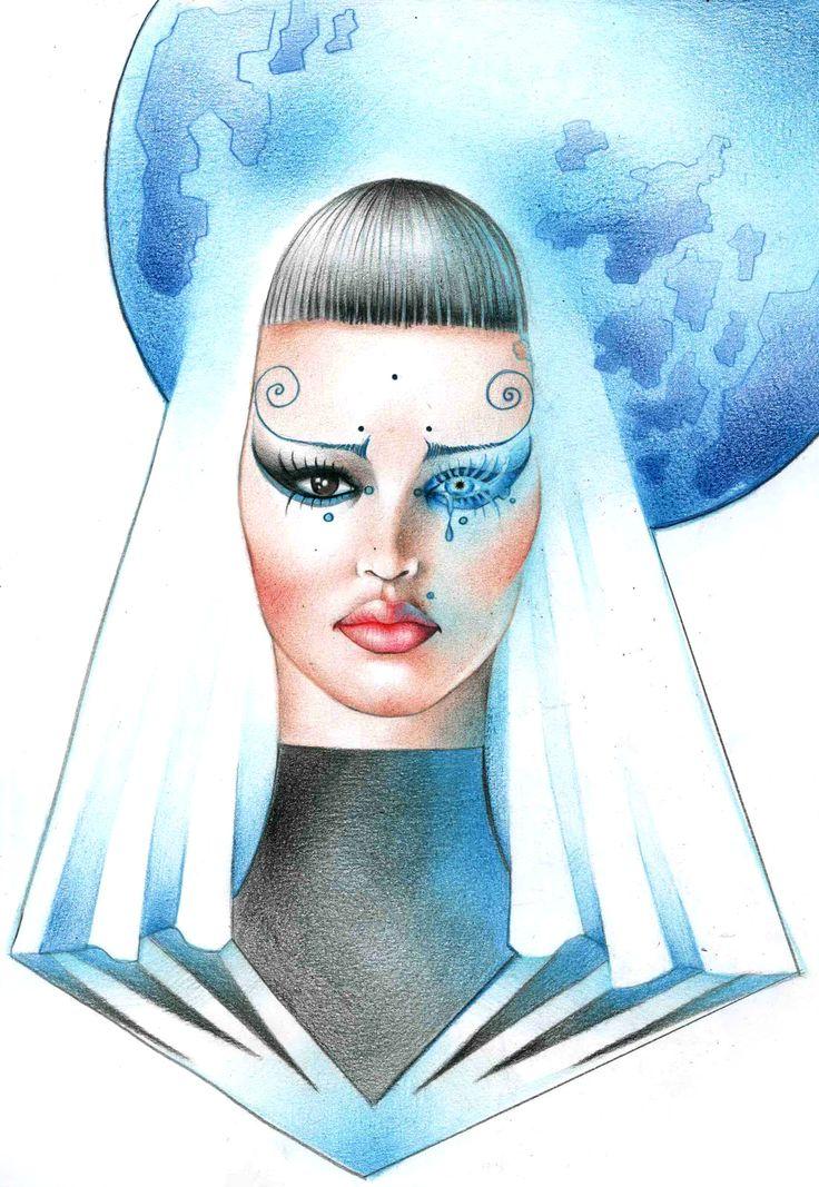 #disegno #illustrazione #lacrima #celeste #frangia #mondo #trucco #diamante #matite #colori #drawing #illustration #picture #painting