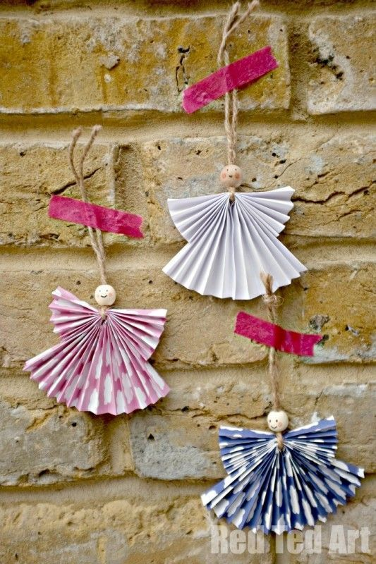 Paper Fan Angel Craft - these are adorable and can be made small for tree ornaments or BIG as Christmas Decorations for the wall