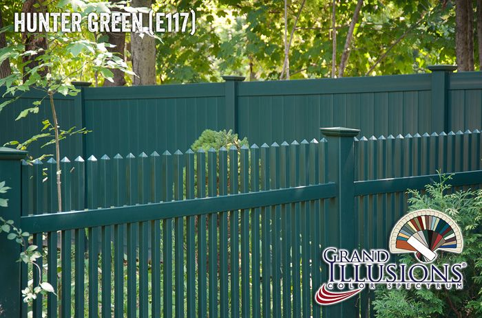 Hunter Green Vinyl Fence Vinyl Picket Fence Fence Backyard