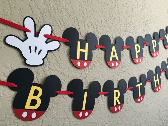Your childs birthday party will be the Talk of the Town with this Mickey Mouse Clubhouse inspired birthday banner!   This order is for a Mickey Mouse HAPPY BIRTHDAY banner, made with high quality, acid free, and lignin free cardstock. This particular banner is red, black, and yellow with white Mickey gloves. The colors can be changed to match your theme at no additional charge. Each Mickey Mouse Head and white Mickey glove is approximately 5.5. Ribbon selection may vary depending on…