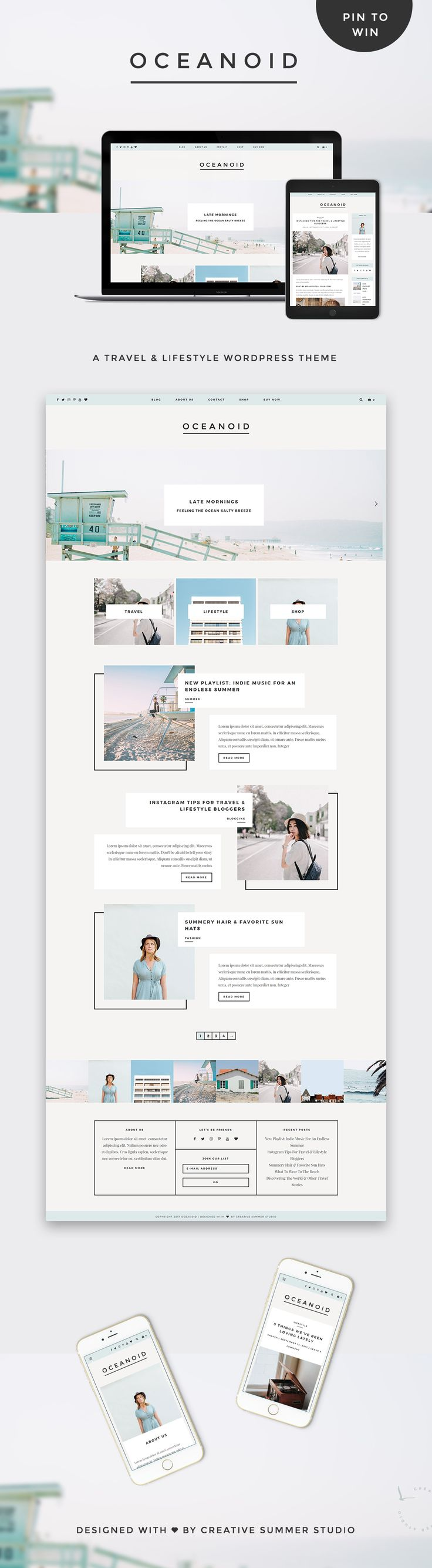 Meet Oceanoid WordPress theme, a minimalist and gorgeous blog layout. With a unique minimal design, subtle bold & masculine touches, and focus on typography, this theme was crafted for the creative lifestyle & travel bloggers. Multiple layouts, lots of styling options, a gorgeous slider and custom promo boxes that can be added to the right places are some of the features that will make Oceanoid theme help you to showcase your content and to tell your beautiful stories through meaningful design.