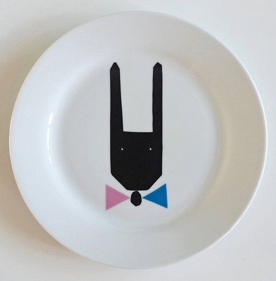 Hare with a bow tie plate by Ninainvorm on Etsy