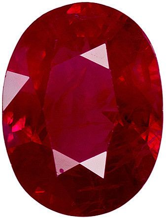 Genuine Ruby Red Loose Gemstone, Oval Cut, 7.8 x 5.9 mm, 1.3 Carats at BitCoin Gems