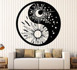Moon wall art is enchanting, trendy and absolutely  beautiful.  Spruce up your home with  these beautiful pieces of moon home décor.   Moon home wall art décor is timeless and symbolizes balance, enlightenment  and eternity.  Moon wall art is truly  timeless      Vinyl Wall Decal Yin Yan Symbol Sun Moon Buddhism Stars Day Night Stickers Large Decor (1135ig) Black