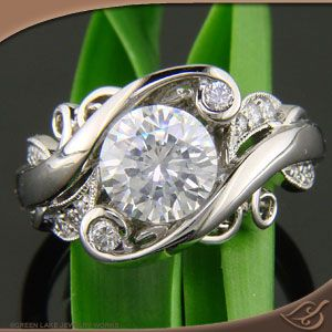 Platinum Organic Wrap Style Mounting with Round Diamonds - I love this ring