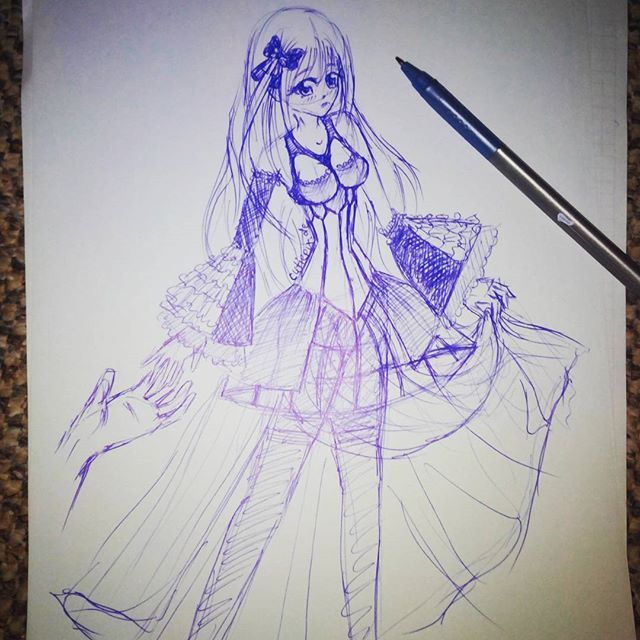 #wannadance ?  #Kugelschreiber #skizze Hab mich an einem #Kleid versucht (mehr oder weniger weil so durchsichtig ist xD)  #anime #manga #animeart #man…