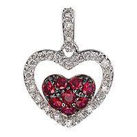 Ruby white gold heart pendant