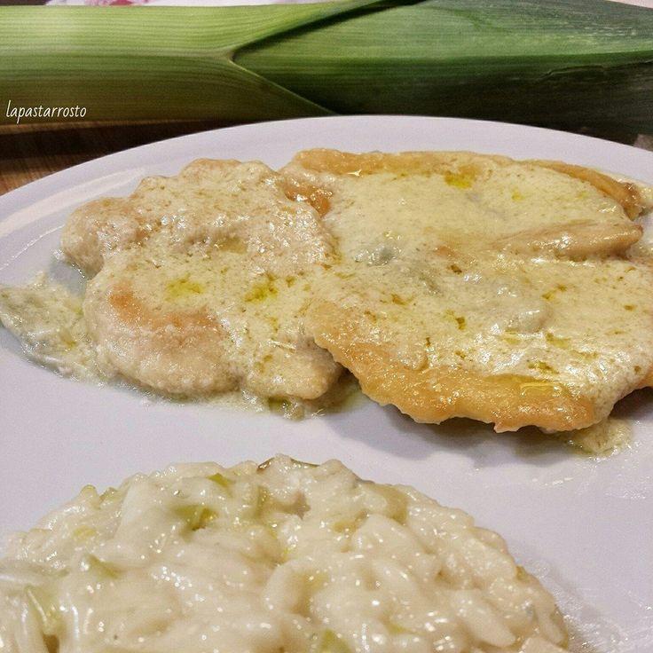 Petto di pollo alla birra e gorgonzola con risotto - pollo, birra, gorgonzola, formaggio, risotto, chicken, beer, cheese, rice...