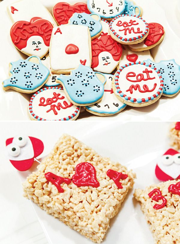 These rice krispie Ace of Hearts would be so cute at an Alice in Wonderland Party