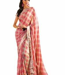 Buy Red printed georgette saree with blouse banarasi-silk-saree online