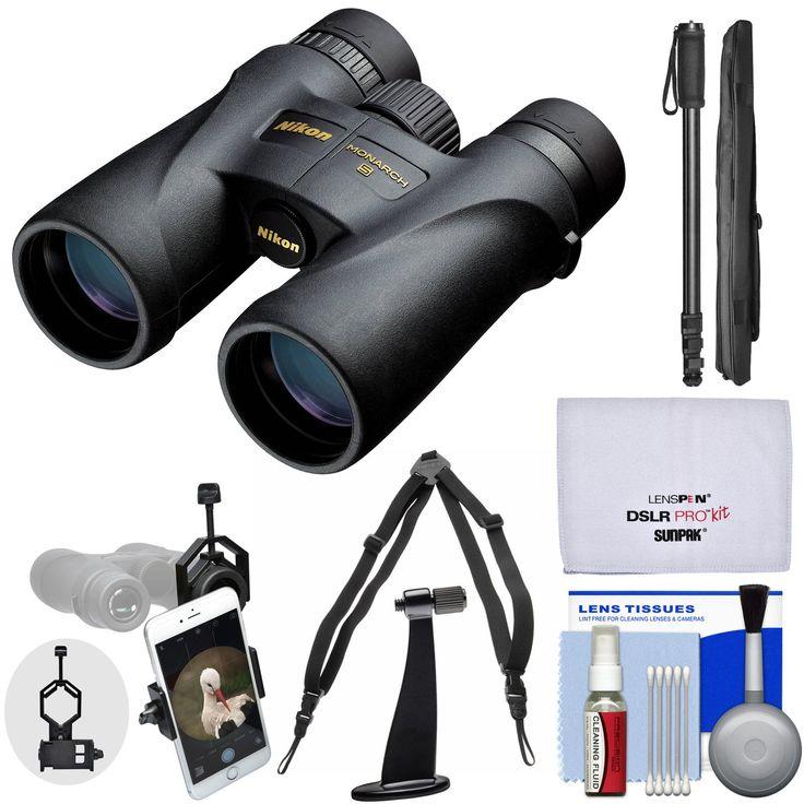 Nikon Monarch 5 10x42 ED ATB Waterproof / Fogproof Binoculars with Case + Harness + Smartphone Adapter + Tripod Adapter + Monopod + Cleaning Kit