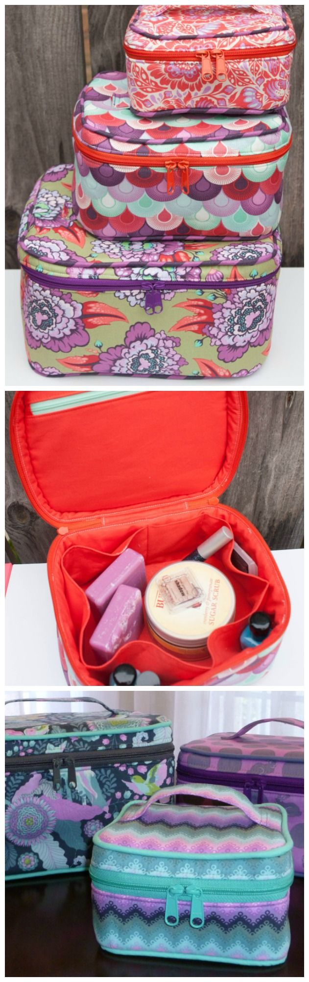 Love these sewing patterns. These train cases come in 3 different sizes. Each case features a zipper on the exterior, and several pockets and compartments on the inside. Optional piping. PDF download or paper pattern.