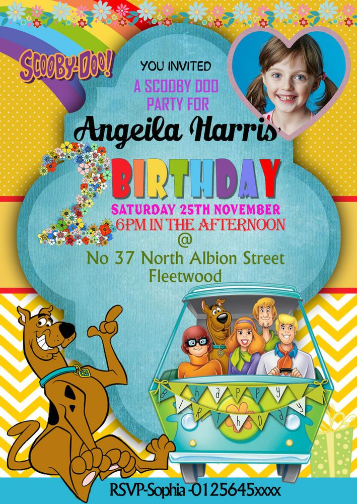 new birthday party invitations scooby doo 8 cards a6