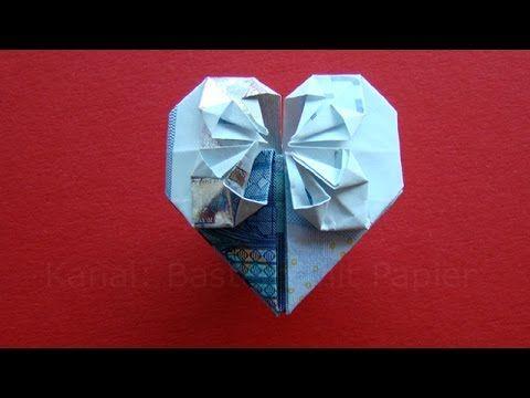 Geldschein falten Herz - Geldgeschenke basteln Hochzeit - Geld falten - Origami - YouTube