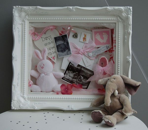 One of my favourite memory frames - a shabby chic shadow box filled with new baby keepsakes. A gorgeous way to display your mementoes. http://www.bespokememoryframes.co.uk/newbabywhiteornate3