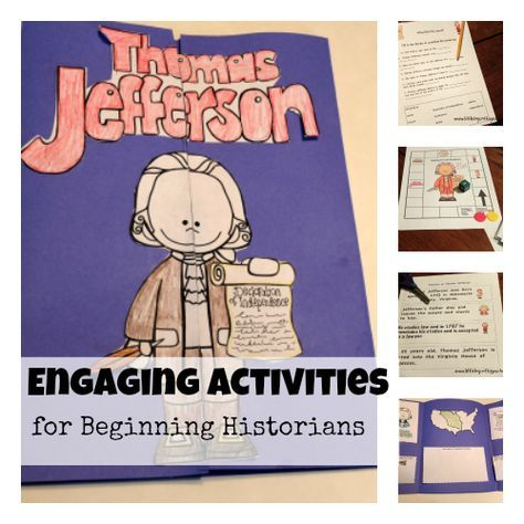 How I Teach History- Original stories about Thomas Jefferson, comprehension check, vocabulary note booking, lap book, timeline, math games included!