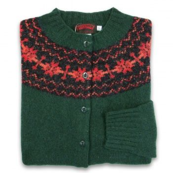 Women's Scottish Shetland Wool Fair Isle Cardigan Sweater - Forest
