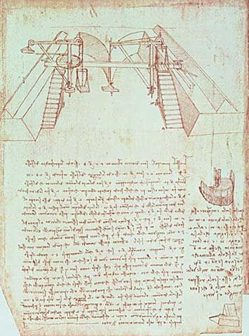 leonardo da vinci facsimile of codex atlanticus 363vb pulley system for the construction of a