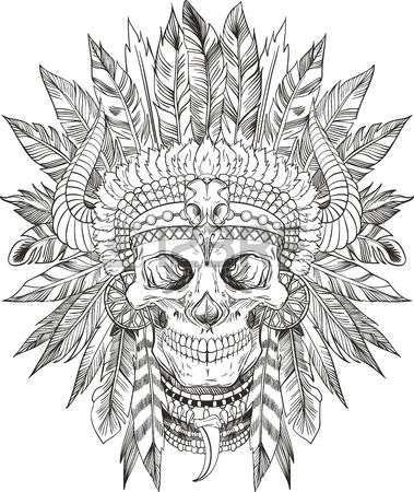 Tatouage tete de mort indien - Tatouage crane indien ...