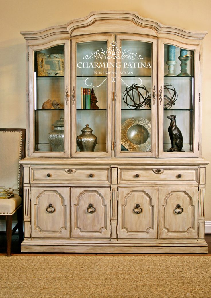 Hand Painted, French Provincial Thomasville China Cabinet White, Cream, French Country, Shabby Chic, Buffet, Hutch, Antique. TV Console by CharmingPatina on Etsy https://www.etsy.com/listing/249663119/hand-painted-french-provincial
