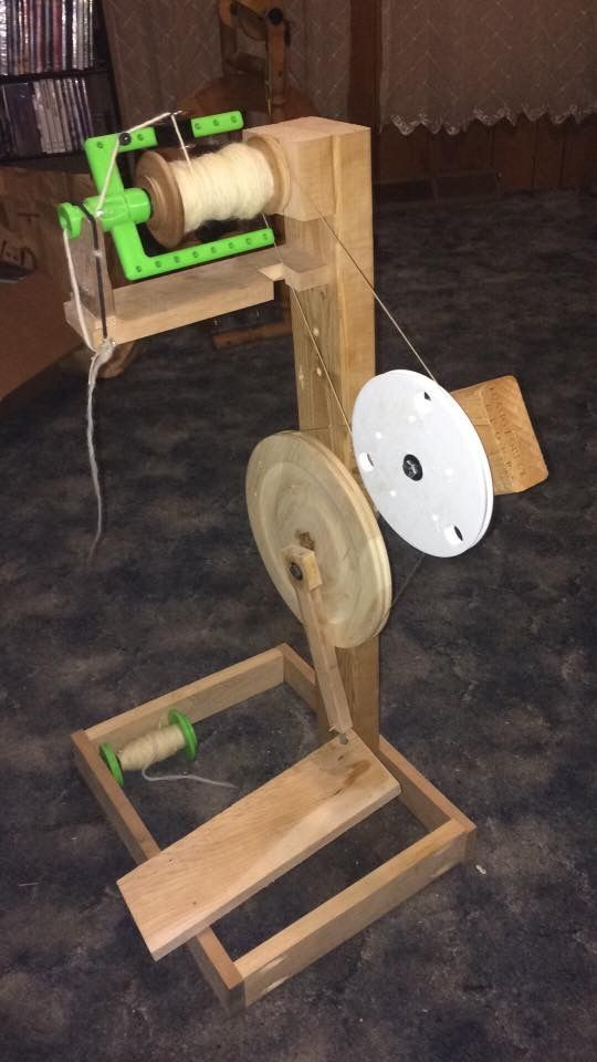 Hand made, partially 3D printed spinning wheel.  Found on Facebook made by Scott Snyder