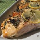 Salmon with Lemon and Dill; the family liked it!  I used olive oil instead of butter, minced garlic in place of powder and mixed the dill in with the oil.  I can't wait to try it on the grill!