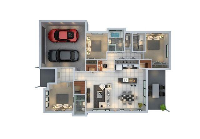 Mẫu nhà có diện tích khiêm tốn nhưng vẫn có thể bố trí được một garage lớn dành cho 2 chiếc ô tô. Mặc dù các không gian sinh hoạt không thực sự rộng lớn nhưng vẫn đảm bảo một cuộc sống tiện nghi và thoải mái cho gia đình.
