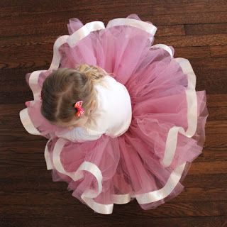 """Sewn tulle skirt tutorial (much more polished than the """"no sew""""). I love the ribbon! I'm thinking the light blue shirt with a full length ivory tulle skirt with light blue ribbon trim. What do you think?"""