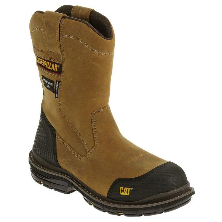 Caterpillar Men's Fabricate Waterproof Composite Toe Pull On Work Boots (Dark Beige) - 10.5 M